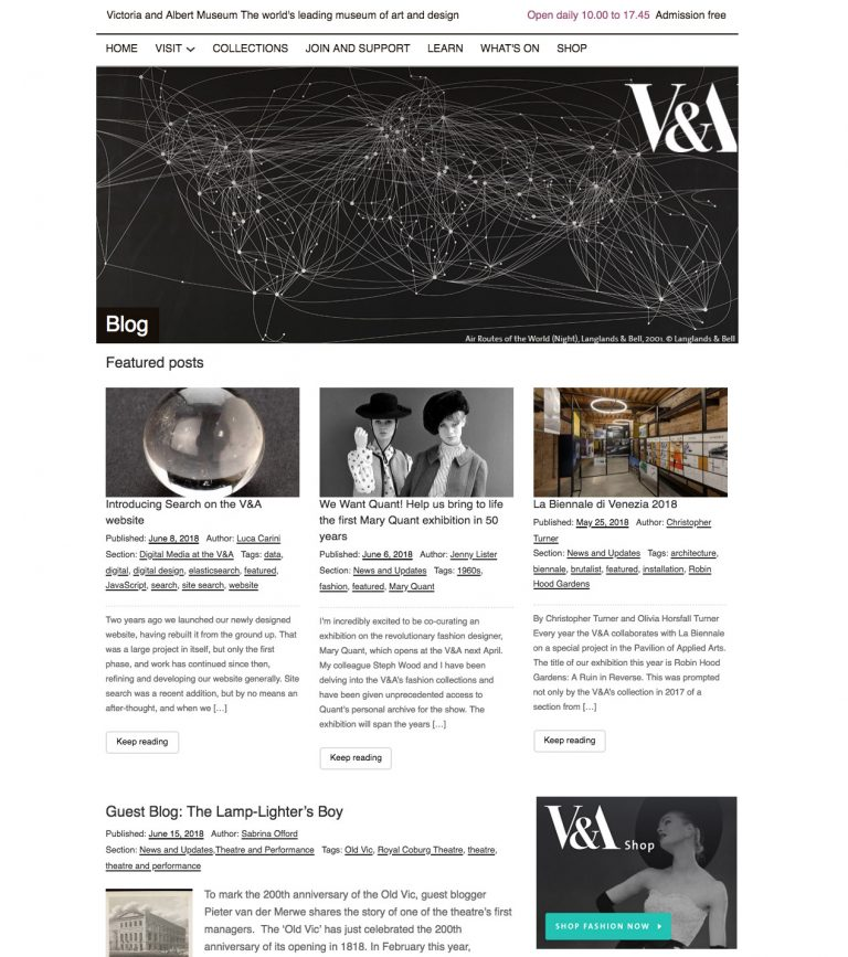 Old V&A Blog