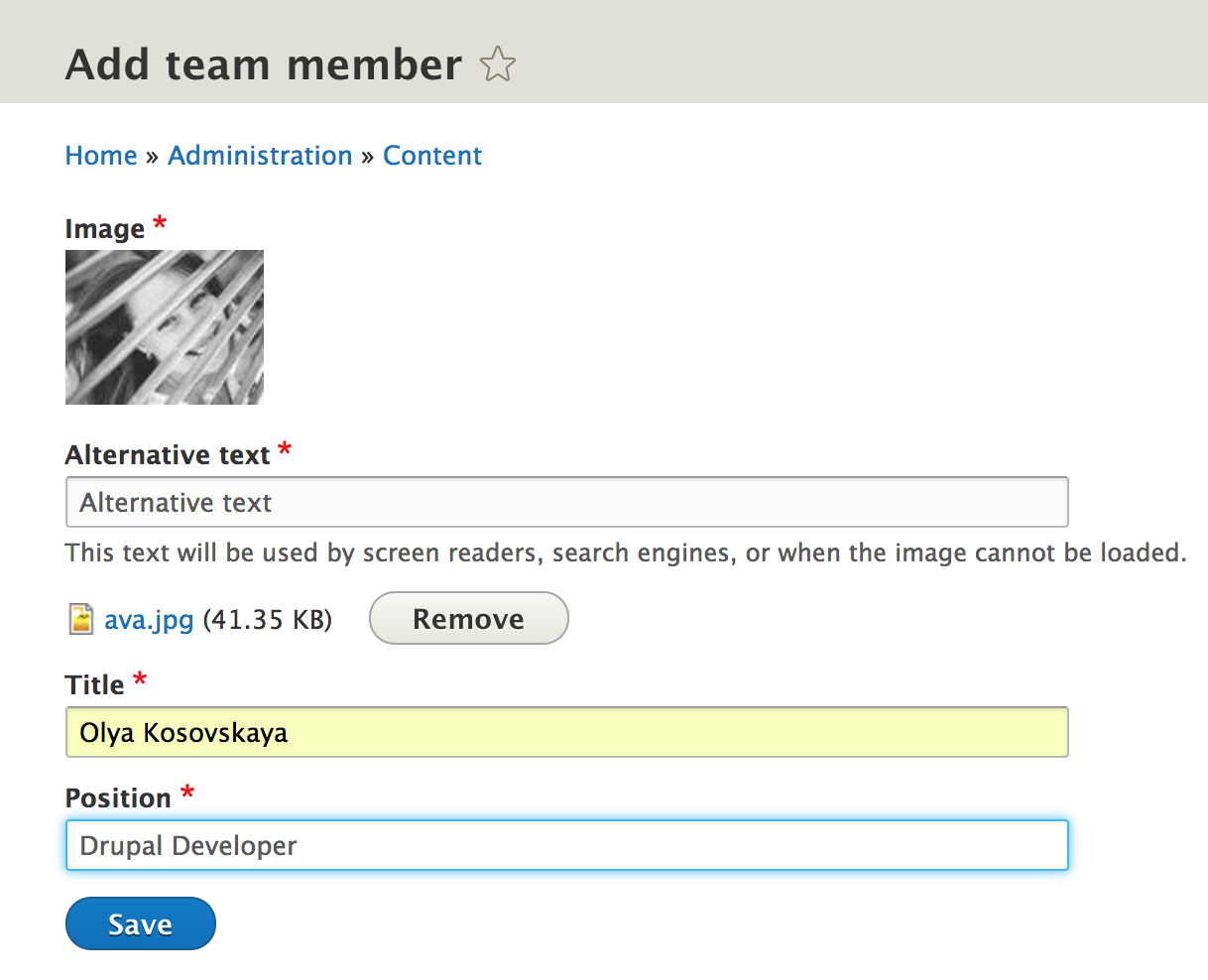 Add team member form